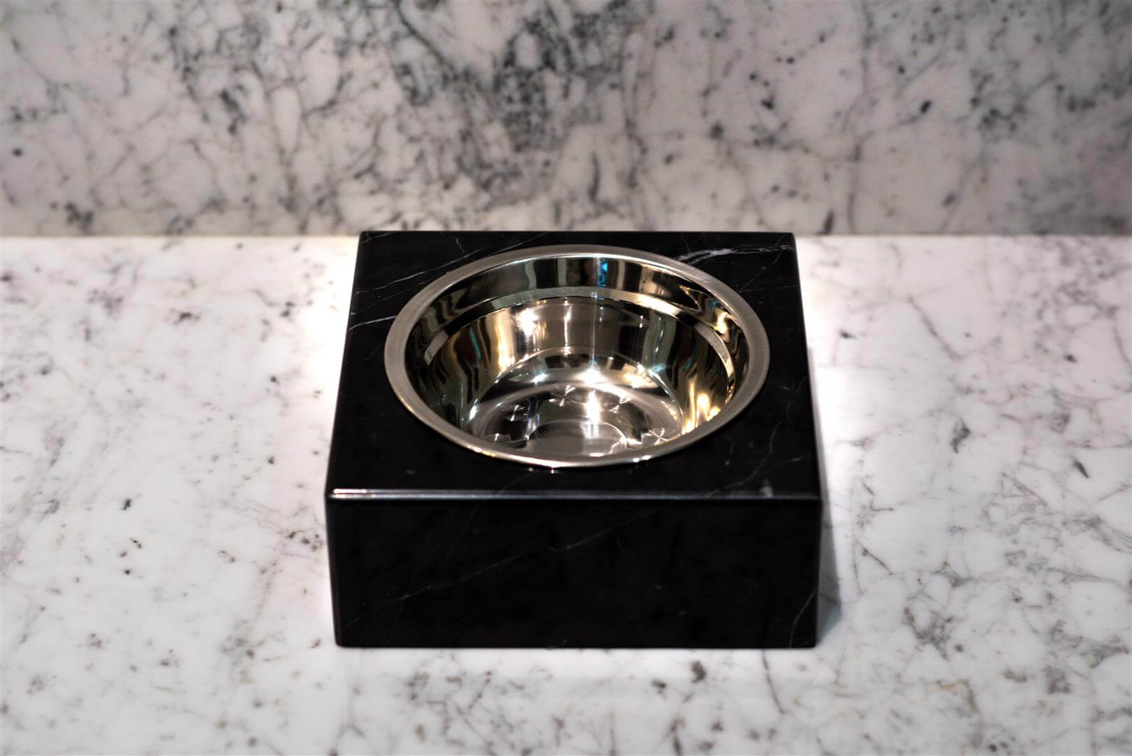 Black Marble Pet Bowl