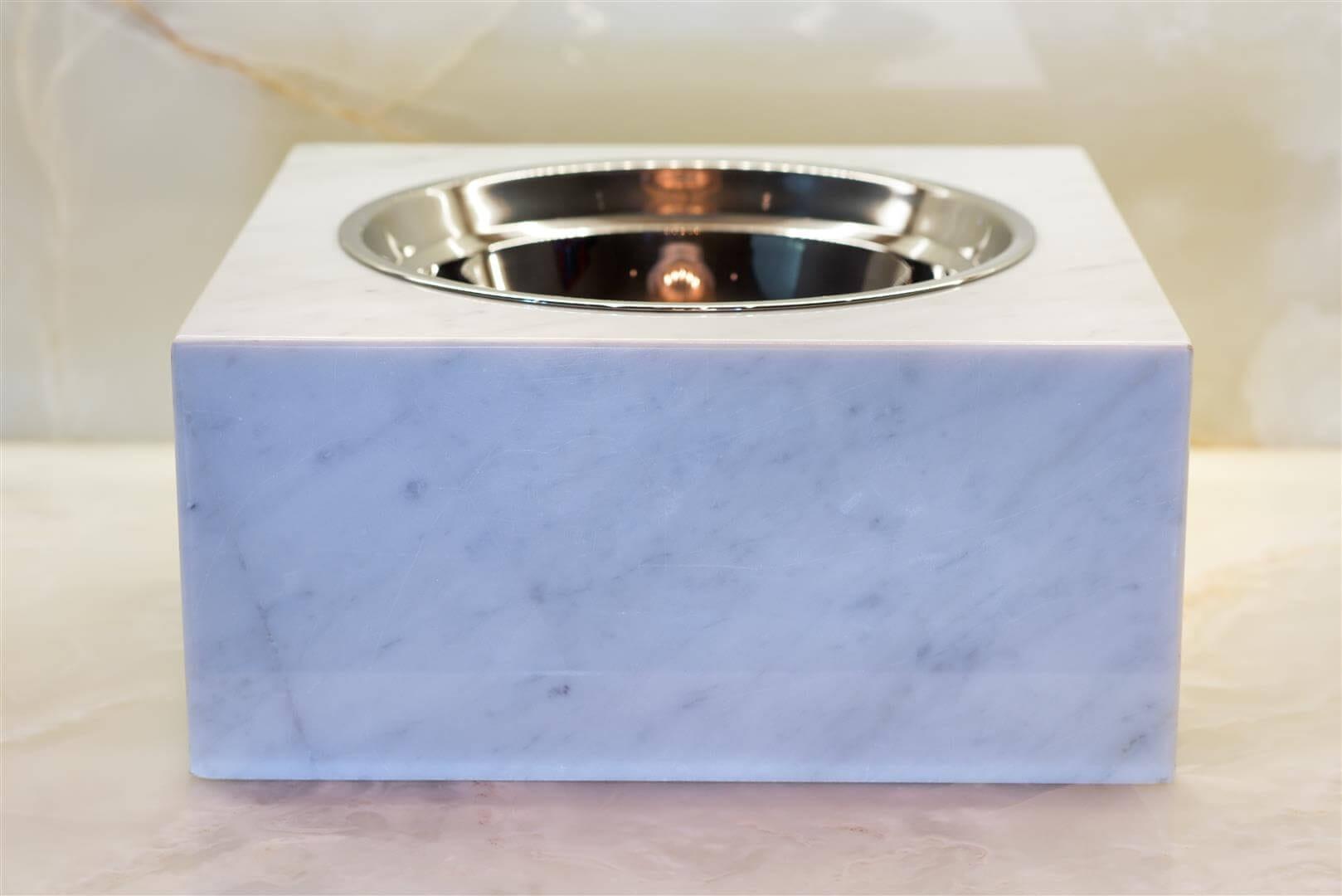 Carrara Marble Pet Bowl - Large