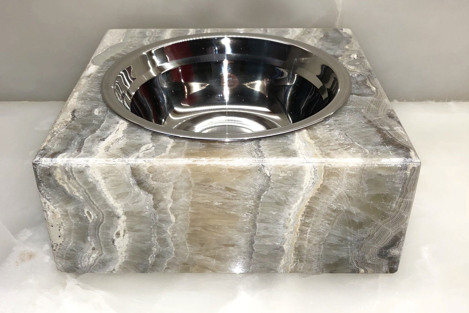Grey Onyx Pet Bowl front view